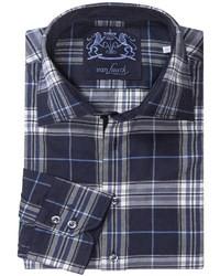 dunkelblaues und weißes Langarmhemd mit Schottenmuster