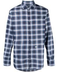 dunkelblaues und weißes Langarmhemd mit Schottenmuster von DSQUARED2