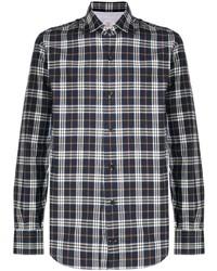 dunkelblaues und weißes Langarmhemd mit Schottenmuster von Eleventy