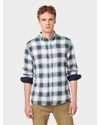 dunkelblaues und weißes Langarmhemd mit Schottenmuster von Tom Tailor