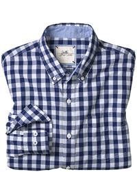 dunkelblaues und weißes Langarmhemd mit Vichy-Muster