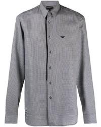 dunkelblaues und weißes Langarmhemd mit Vichy-Muster von Emporio Armani