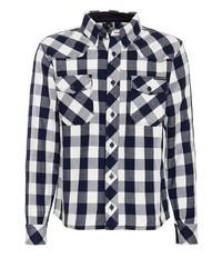 dunkelblaues und weißes Langarmhemd mit Vichy-Muster von KINGKEROSIN