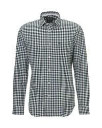 dunkelblaues und weißes Langarmhemd mit Vichy-Muster von Marc O'Polo