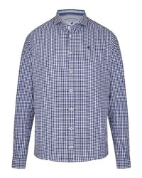 dunkelblaues und weißes Langarmhemd mit Vichy-Muster von Pure
