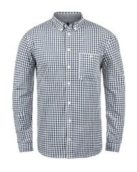 dunkelblaues und weißes Langarmhemd mit Vichy-Muster von Redefined Rebel