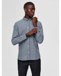 dunkelblaues und weißes Langarmhemd mit Vichy-Muster von Selected Homme