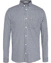 dunkelblaues und weißes Langarmhemd mit Vichy-Muster von Tommy Jeans