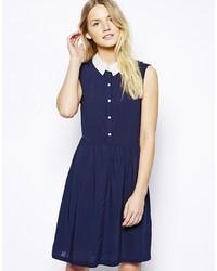 dunkelblaues und weißes Skaterkleid von Vero Moda