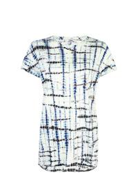 dunkelblaues und weißes Mit Batikmuster T-Shirt mit einem Rundhalsausschnitt von Proenza Schouler