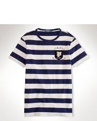 dunkelblaues und weißes T-Shirt mit einem Rundhalsausschnitt