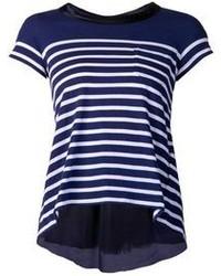 dunkelblaues und weißes T-Shirt mit Rundhalsausschnitt