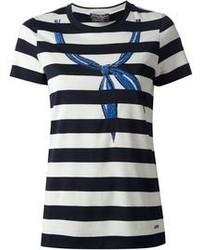 dunkelblaues und weißes T-Shirt mit einem Rundhalsausschnitt von Salvatore Ferragamo