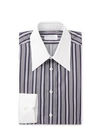 dunkelblaues und weißes vertikal gestreiftes Businesshemd