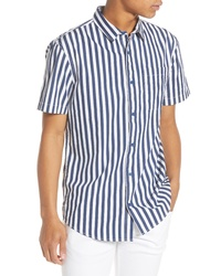 dunkelblaues und weißes vertikal gestreiftes Kurzarmhemd