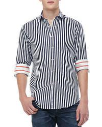Dunkelblaues und weißes vertikal gestreiftes Langarmhemd