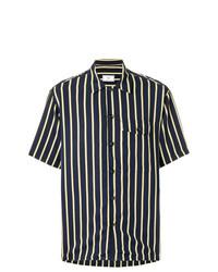 dunkelblaues vertikal gestreiftes Kurzarmhemd von AMI Alexandre Mattiussi