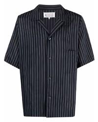 dunkelblaues vertikal gestreiftes Kurzarmhemd von Maison Margiela