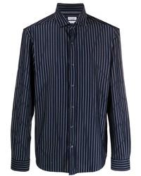 dunkelblaues vertikal gestreiftes Langarmhemd von Brunello Cucinelli