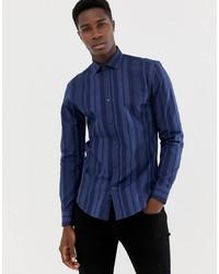 dunkelblaues vertikal gestreiftes Langarmhemd von MOSS BROS