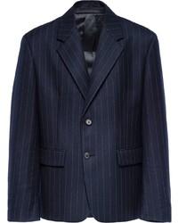 dunkelblaues vertikal gestreiftes Wollsakko von Prada