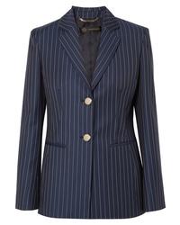 dunkelblaues vertikal gestreiftes Wollsakko von Versace