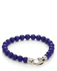 dunkelblaues verziert mit Perlen Armband