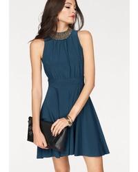 dunkelblaues verziertes ausgestelltes Kleid von Melrose
