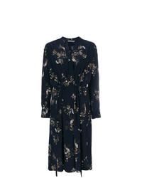 dunkelblaues Wickelkleid mit Blumenmuster von Vince
