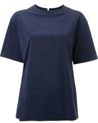 dunkelblaues Wildleder T-shirt von Le Ciel Bleu