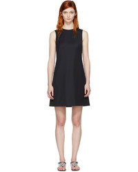 dunkelblaues Wollgerade geschnittenes kleid von Dolce & Gabbana