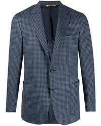 dunkelblaues Wollsakko mit Vichy-Muster von Canali