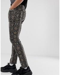 dunkelbraune bedruckte enge Jeans von ASOS DESIGN