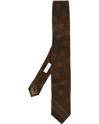 dunkelbraune bedruckte Krawatte von Boglioli
