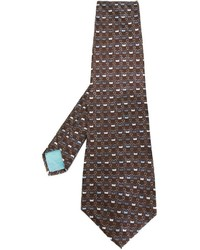 dunkelbraune bedruckte Krawatte