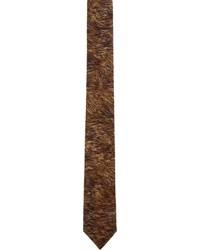 dunkelbraune bedruckte Krawatte von Neil Barrett