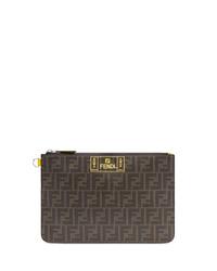 dunkelbraune bedruckte Leder Clutch Handtasche von Fendi