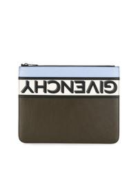 dunkelbraune bedruckte Leder Clutch Handtasche von Givenchy