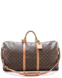 dunkelbraune bedruckte Leder Reisetasche