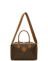 dunkelbraune bedruckte Leder Reisetasche von Fendi