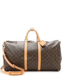 dunkelbraune bedruckte Leder Reisetasche von Louis Vuitton