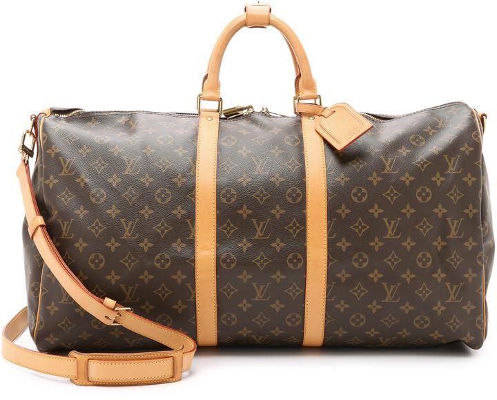 3bea52009c996 ... dunkelbraune bedruckte Leder Reisetasche von Louis Vuitton ...