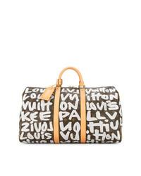 3a2fbb037299f ... dunkelbraune bedruckte Leder Reisetasche von Louis Vuitton Vintage