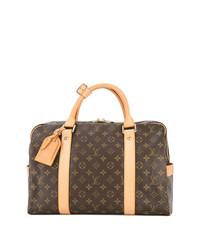 dunkelbraune bedruckte Leder Reisetasche von Louis Vuitton Vintage