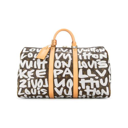 e5e6951fc6a9c ... dunkelbraune bedruckte Leder Reisetasche von Louis Vuitton Vintage ...