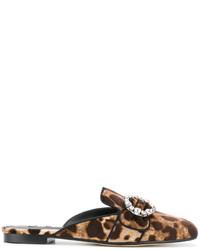 dunkelbraune bedruckte Pantoletten von Dolce & Gabbana
