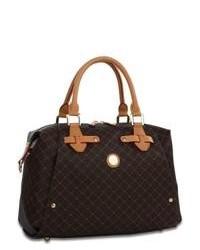 dunkelbraune bedruckte Satchel-Tasche aus Leder