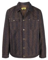 dunkelbraune bedruckte Shirtjacke