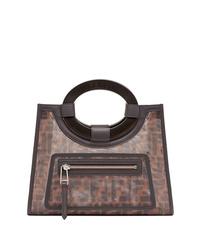dunkelbraune bedruckte Shopper Tasche aus Leder von Fendi