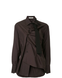 dunkelbraune Bluse mit Knöpfen von Aganovich